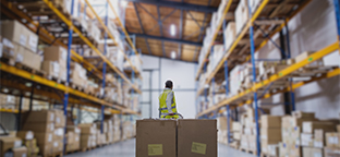 Worker in a warehouse moving boxes